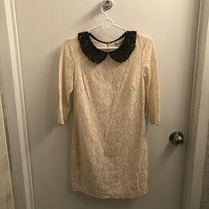 Chelsea &Violet White Lace w/Black Collar Size: XS